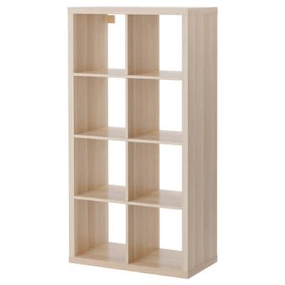 KALLAX Unit rak, kesan kayu oak berwarna putih, 77x147 cm