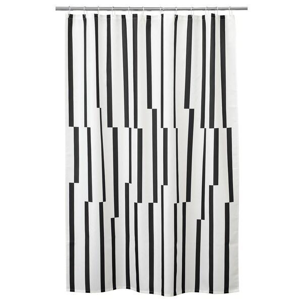 KINNEN tirai bilik mandi putih/hitam 200 cm 180 cm 3.60 m² 116 g/m²