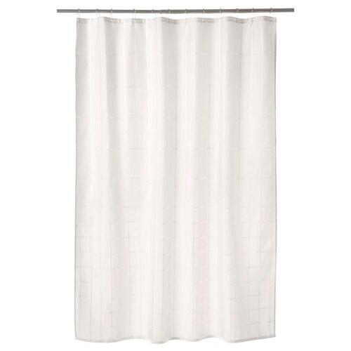 KLOCKAREN tirai bilik mandi putih pudar 115 g/m² 200 cm 180 cm 3.60 m² 115 g/m²