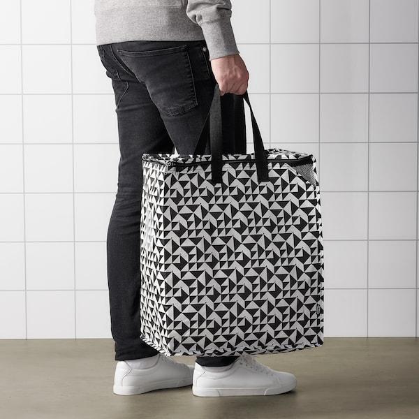 KNALLA Beg, hitam/putih, 47 l