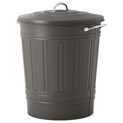 KNODD tong sampah dgn penutup kelabu 51 cm 41 cm 40 l