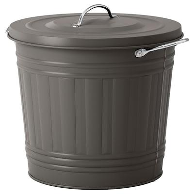 KNODD Tong sampah dgn penutup, kelabu, 16 l
