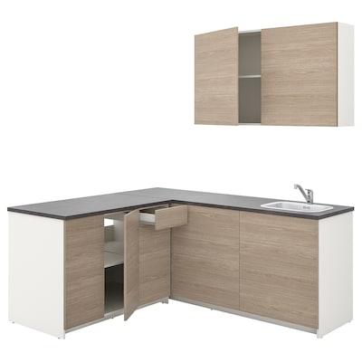 KNOXHULT Dapur, kesan kayu kelabu, 182x183x220 cm