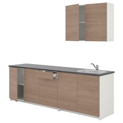 KNOXHULT Dapur, kesan kayu kelabu, 204x61x220 cm