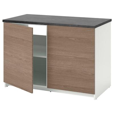KNOXHULT Kabinet dasar berpintu, kesan kayu/kelabu, 120x85 cm
