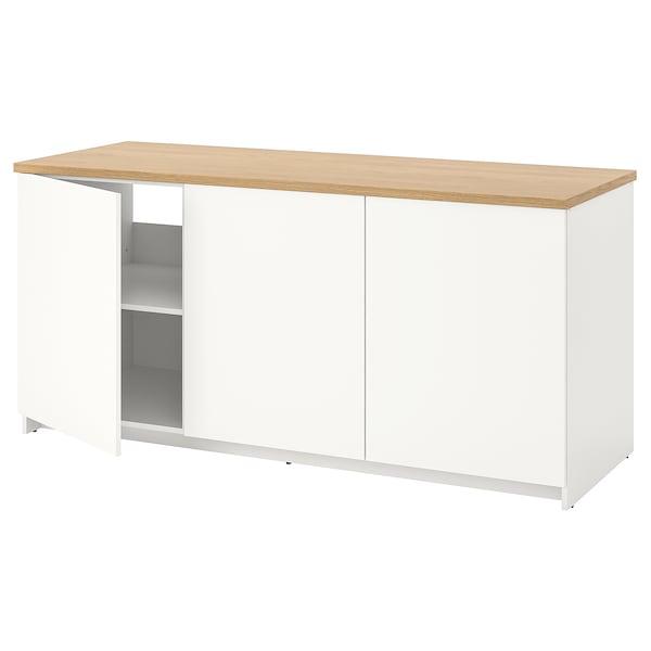 KNOXHULT Kabinet dasar berpintu, putih, 180x85 cm