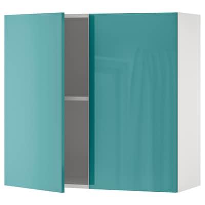 KNOXHULT Kabinet dinding berpintu, berkilat/biru-firus, 80x75 cm