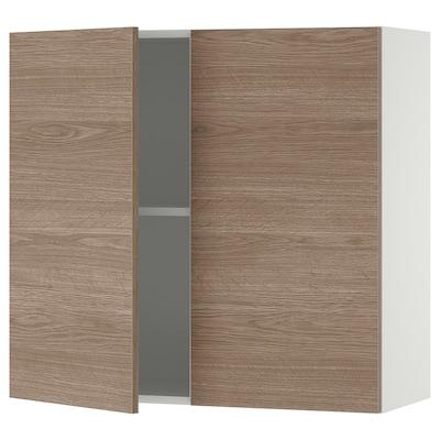 KNOXHULT Kabinet dinding berpintu, kesan kayu/kelabu, 80x75 cm