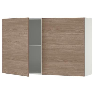 KNOXHULT Kabinet dinding berpintu, kesan kayu/kelabu, 120x75 cm