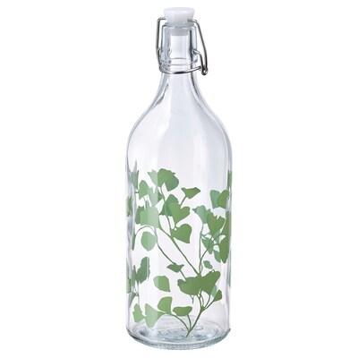 KORKEN Botol dengan penyumbat, kaca/bercetak, 1 l