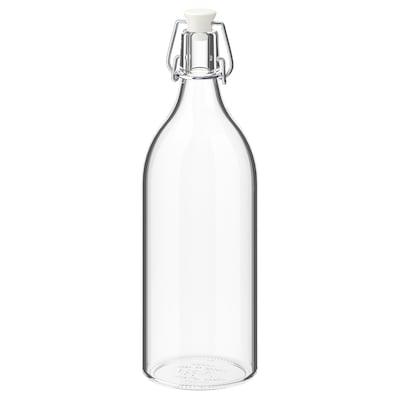 KORKEN Botol dengan penyumbat, kaca jernih, 1 l