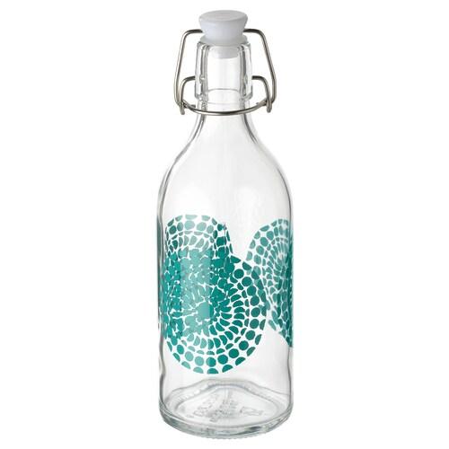 KORKEN botol dengan penyumbat kaca jernih/bercorak 23 cm 0.5 l