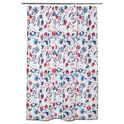 KRATTEN Tirai bilik mandi, putih/pelbagai warna, 180x200 cm
