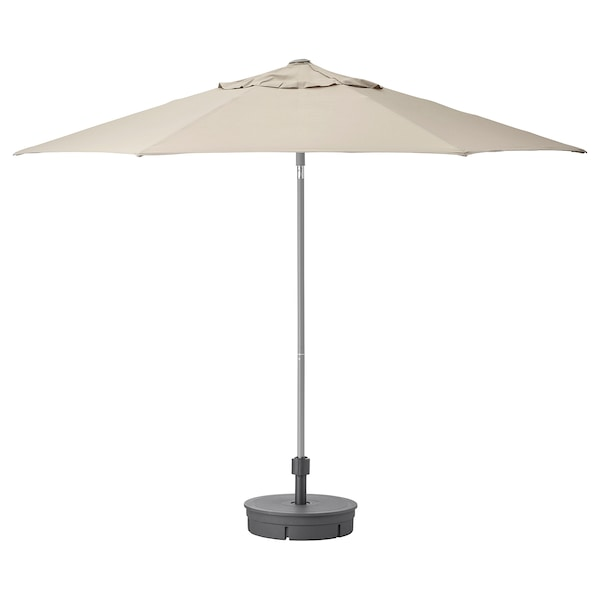 KUGGÖ / LINDÖJA Payung dengan dasar, kuning air/Grytö kelabu gelap, 300 cm