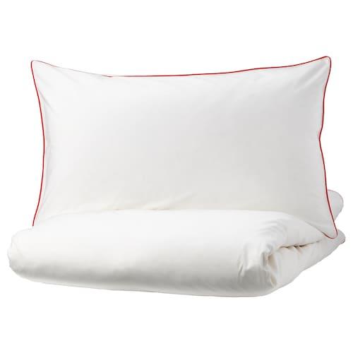 KUNGSBLOMMA sarung kuilt dan 4 sarung bantal putih/merah 200 inci² 4 unit 220 cm 240 cm 50 cm 80 cm