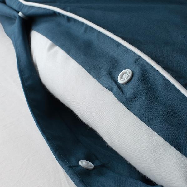 KUNGSBLOMMA Sarung kuilt dan 2 sarung bantal, biru gelap/putih, 200x200/50x80 cm