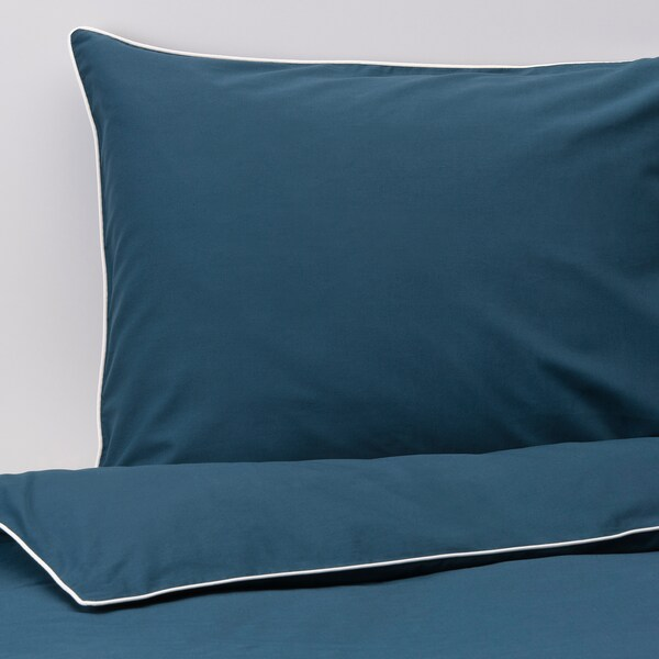 KUNGSBLOMMA Sarung kuilt dan 2 sarung bantal, biru gelap/putih, 240x220/50x80 cm