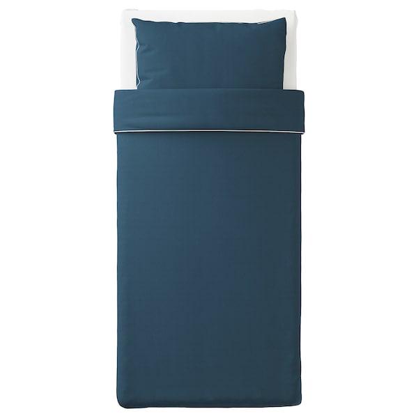 KUNGSBLOMMA Sarung kuilt dan sarung bantal, biru gelap/putih, 150x200/50x80 cm