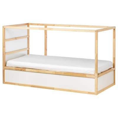 KURA Katil yg blh diterbalikkan, putih/kayu pain, 90x200 cm