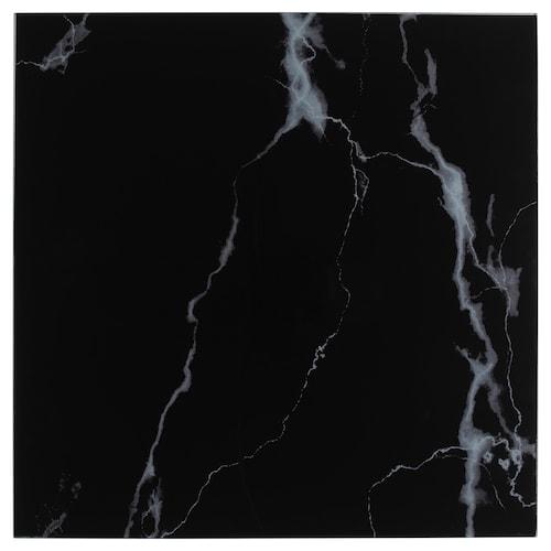 LACK permukaan kaca kesan marmar/hitam 55 cm 55 cm 4 mm