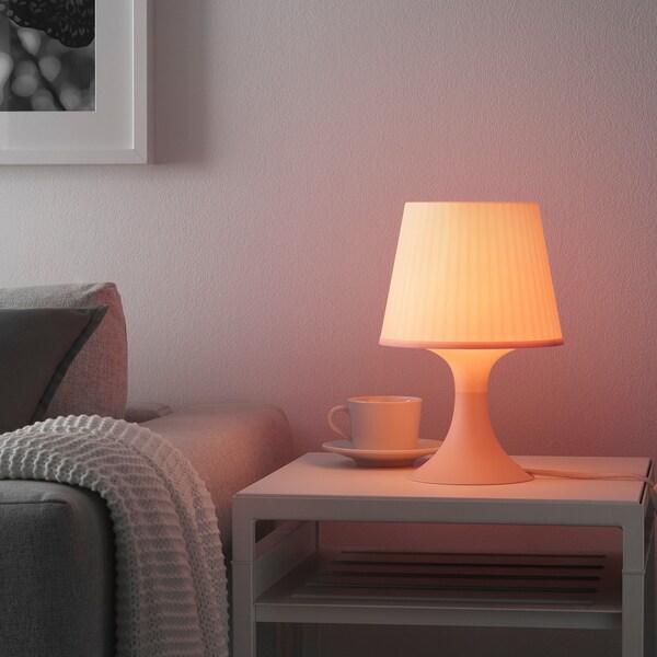 LAMPAN Lampu meja, merah jambu lembut, 29 cm