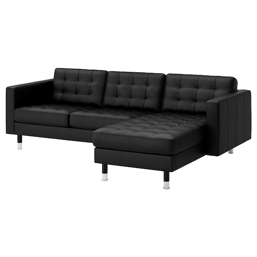 LANDSKRONA sofa 3 tempat duduk dengan chaise longue/Grann/Bomstad hitam/logam 242 cm 78 cm 89 cm 158 cm 64 cm 61 cm 128 cm 44 cm