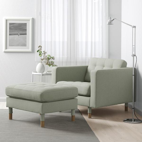 LANDSKRONA Bangku kaki, Gunnared hijau muda/kayu