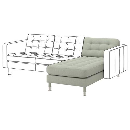 LANDSKRONA unit tambahan chaise longue Gunnared hijau muda/logam 78 cm 158 cm 78 cm 128 cm 44 cm