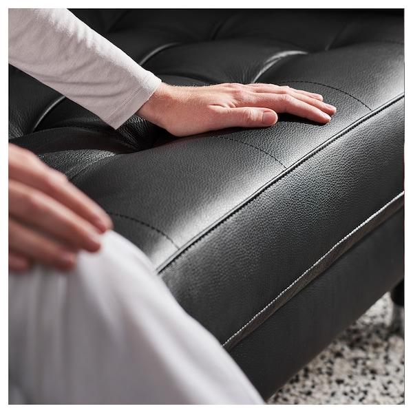 LANDSKRONA Sofa 3 tempat duduk, dengan chaise longue/Grann/Bomstad hitam/logam
