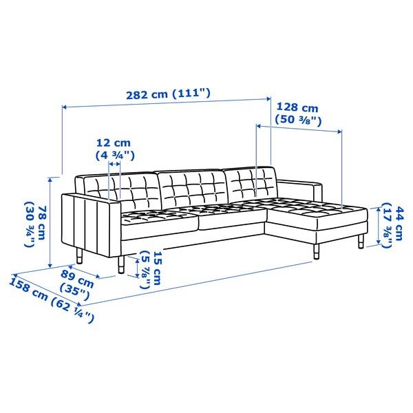 LANDSKRONA Sofa 4 tempat duduk, dengan chaise longue/Grann/Bomstad hitam/kayu