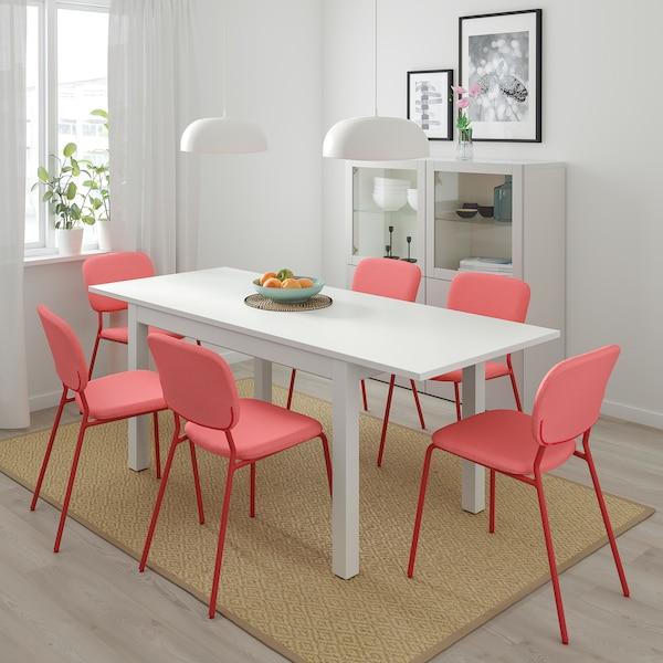 LANEBERG Meja boleh dipanjangkan, putih, 130/190x80 cm