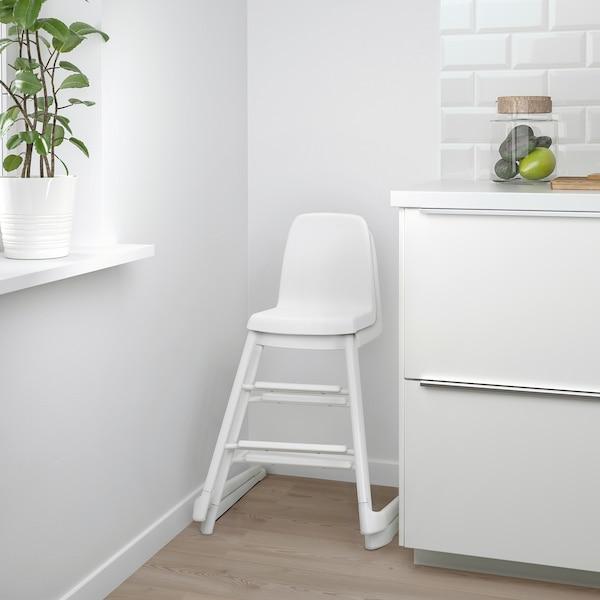LANGUR Kerusi junior/tinggi dengan dulang, putih