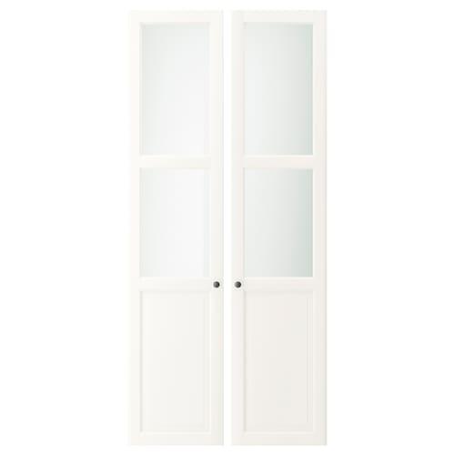 LIATORP pintu /panel kaca putih 44 cm 198 cm 2 unit