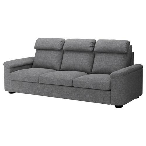 LIDHULT sofa 3 tempat duduk Lejde kelabu/hitam 102 cm 76 cm 259 cm 98 cm 7 cm 211 cm 53 cm 45 cm