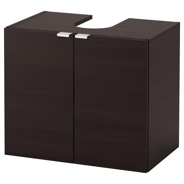 LILLÅNGEN Kabinet bawah sink 2 pintu, hitam coklat, 60x38x51 cm