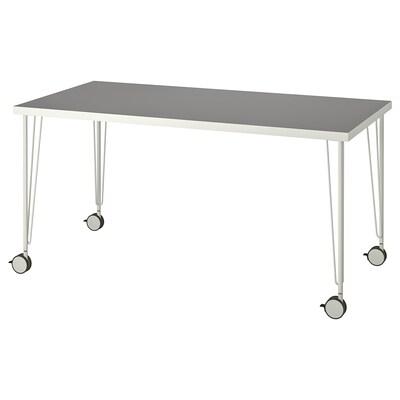 LINNMON / KRILLE Meja, kelabu muda/putih, 150x75 cm
