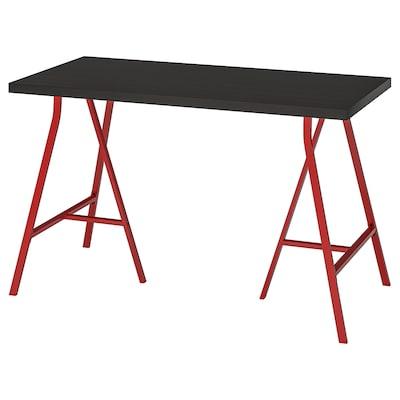 LINNMON / LERBERG Meja, hitam coklat/merah, 120x60 cm