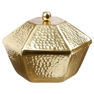 LJUVARE Mngkuk hidangan berpenutup, warna emas, 25 cm