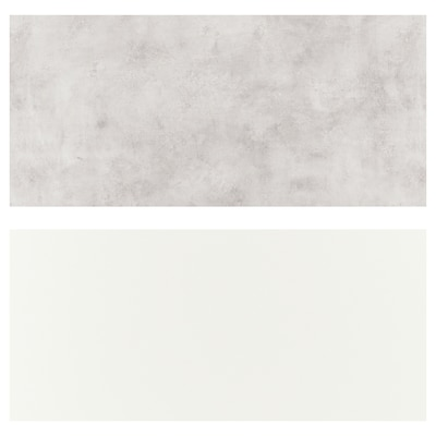 LYSEKIL Panel dinding, dua lapis putih/kelabu muda kesan konkrit, 119.6x55 cm