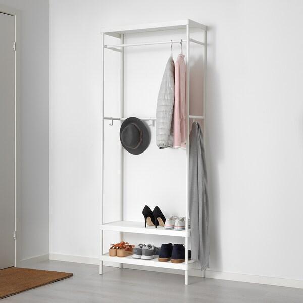 MACKAPÄR Rak kot dengan bangku storan kasut, putih, 78x193 cm