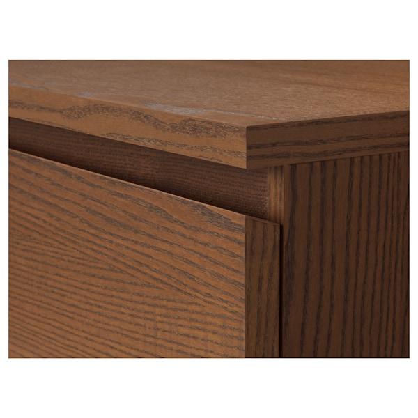MALM Almari 4 laci, coklat berwarna venir kayu ash, 80x100 cm