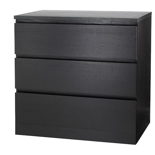 MALM almari 3 laci hitam coklat 80 cm 48 cm 78 cm 43 cm