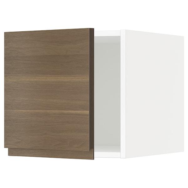 METOD Kabinet atas, putih/Voxtorp kesan kayu walnut, 40x60x40 cm