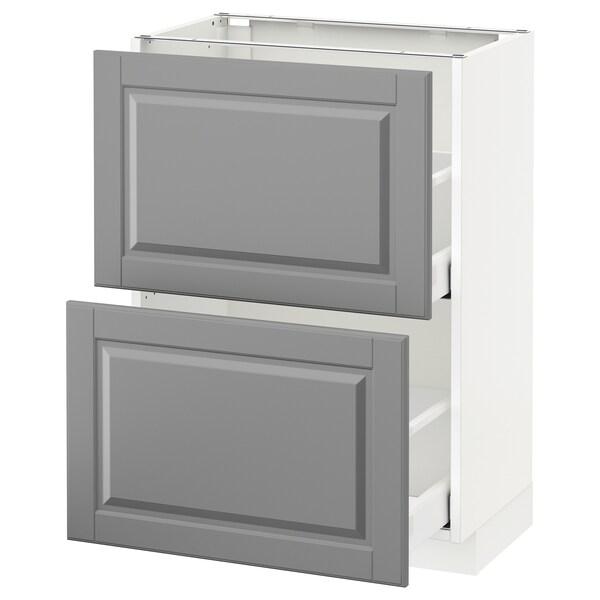 METOD Kabinet dasar dgn 2 laci, putih Maximera/Bodbyn kelabu, 60x37x80 cm