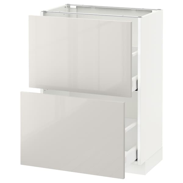 METOD Kabinet dasar dgn 2 laci, putih Maximera/Ringhult kelabu muda, 60x37x80 cm