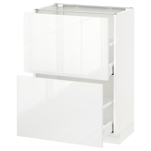 METOD Kabinet dasar dgn 2 laci, putih Maximera/Ringhult putih, 60x37x80 cm
