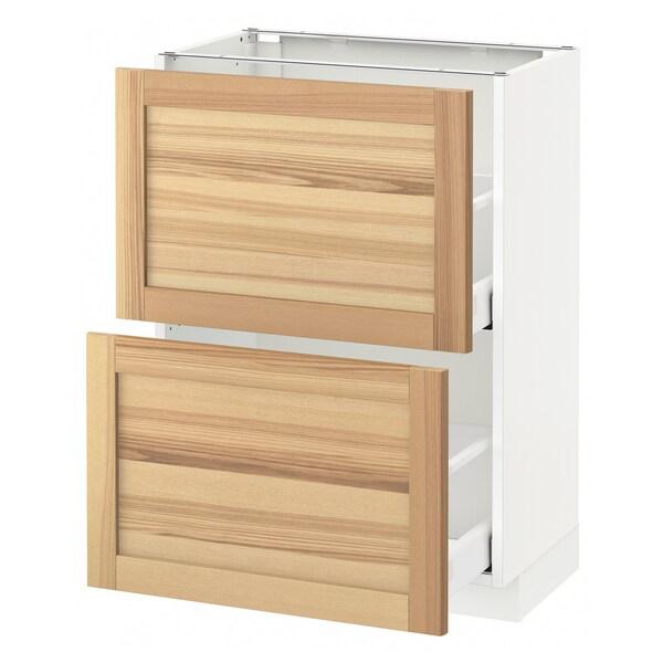 METOD Kabinet dasar dgn 2 laci, putih Maximera/Torhamn ash, 60x37x80 cm