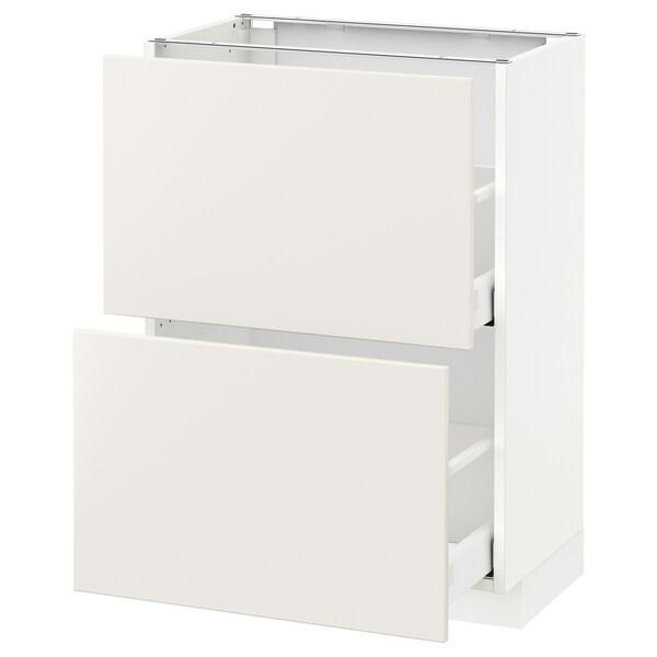 METOD Kabinet dasar dgn 2 laci, putih Maximera/Veddinge putih, 60x37x80 cm