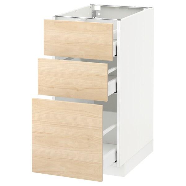 METOD Kabinet dasar dgn 3 laci, putih Maximera/Askersund kesan kayu ash muda, 40x60x80 cm