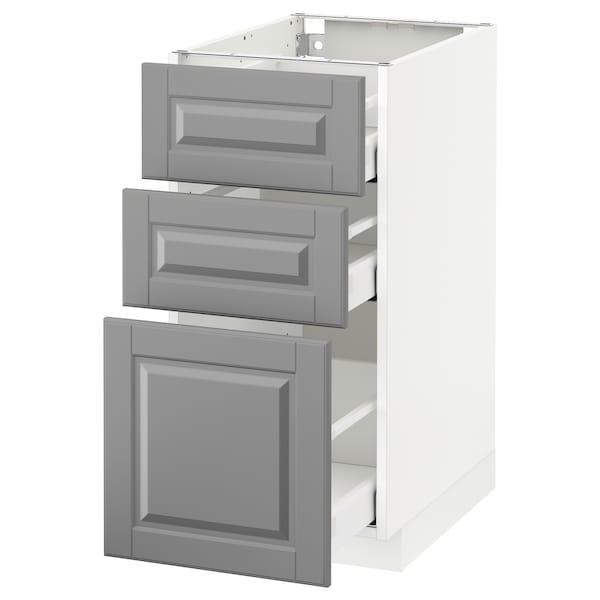 METOD Kabinet dasar dgn 3 laci, putih Maximera/Bodbyn kelabu, 40x60x80 cm